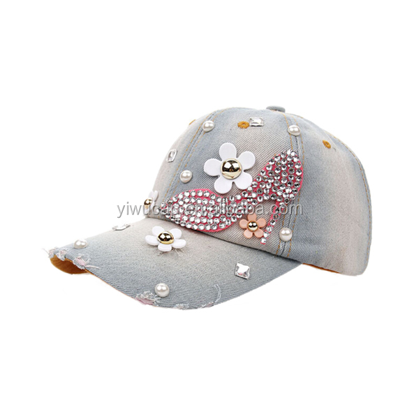 China wholesale high quality worn-out washed jean rhinestone hats a high-heeled shoe pattern fitted baseball cap wholesale