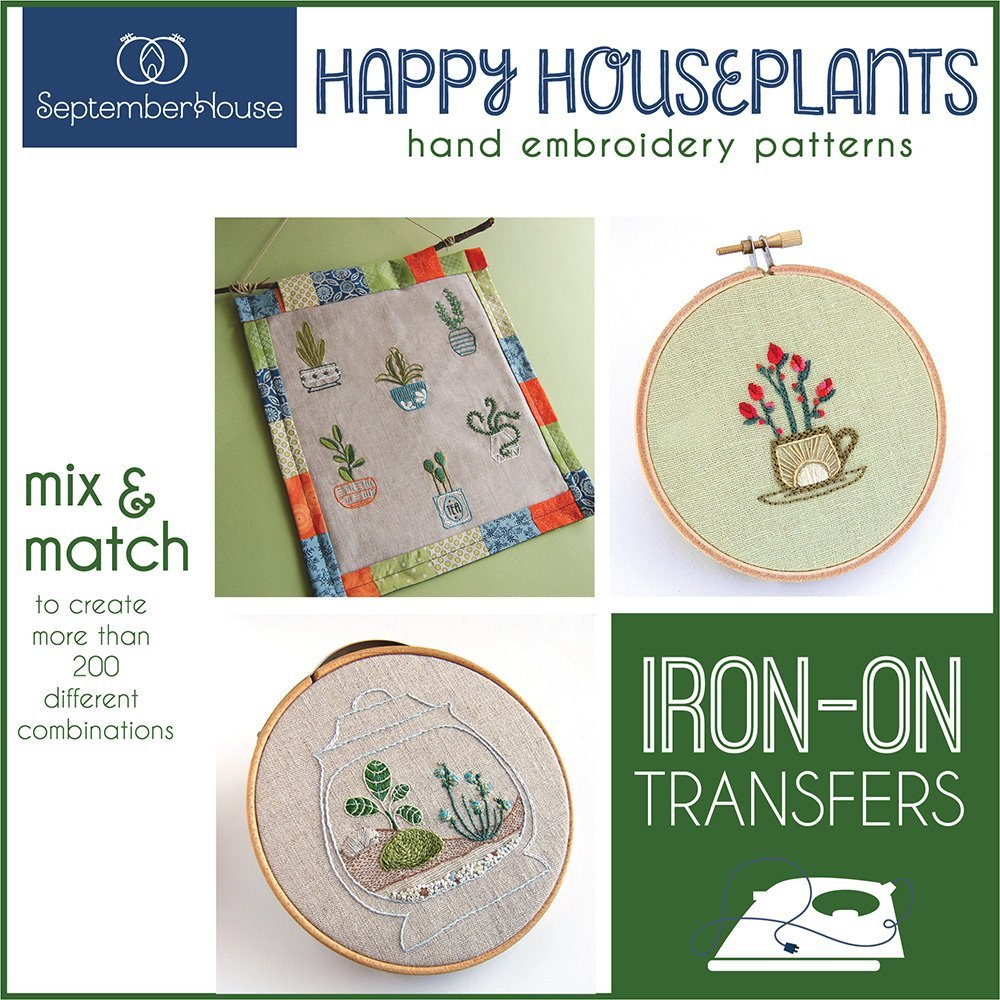 Happy Houseplants Hand Embroidery Patterns Iron On Transfers