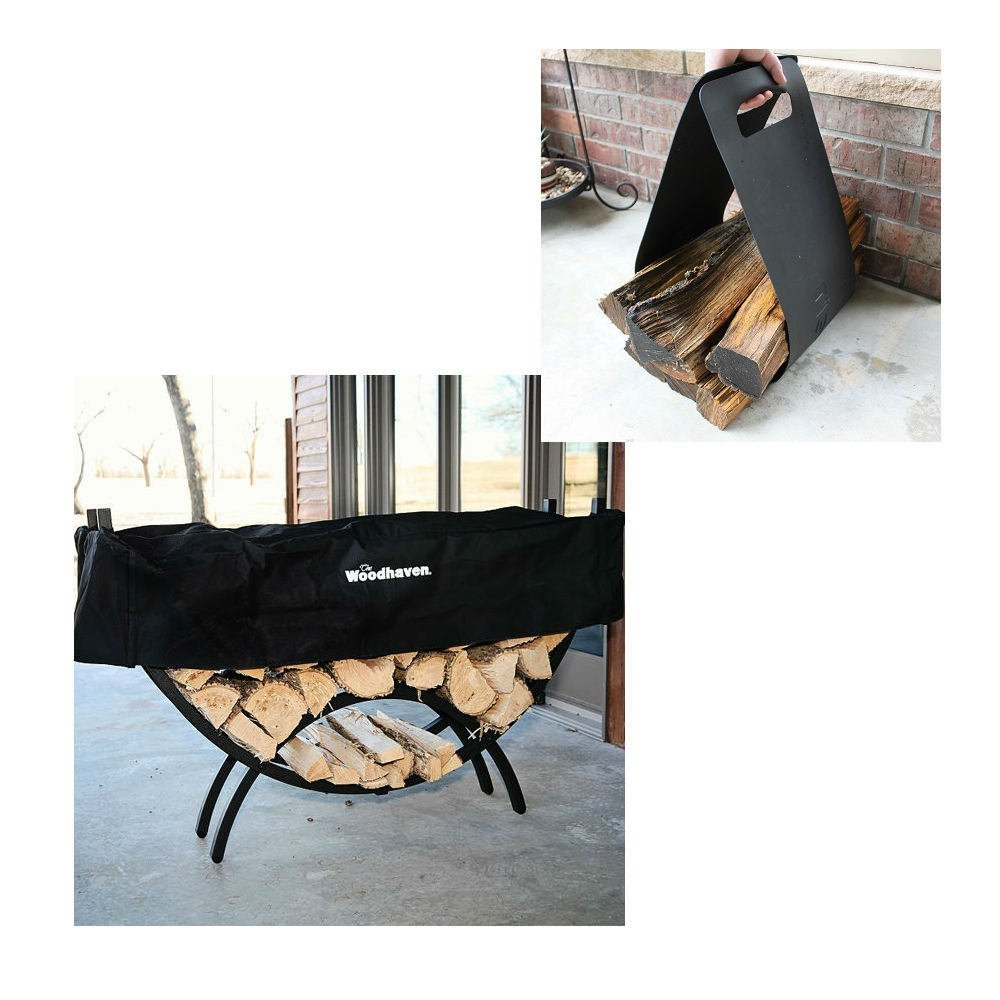 QBC Bundled Woodhaven Firewood Rack - 60-CRES-WRWC - Medium Crescent Firewood Rack - Black - (60in x 34in x 15in) with Standard Cover and Woodhaven Log Carrier - Plus Free QBC Firewood Rack eGuide