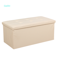 Home furniture ottoman square storage stool leather ottoman box