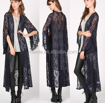 Bell Sleeves Open Front Long Maxi Lace Cardigan With Trim - Buy ...