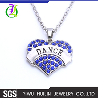 NK2302 Yiwu Huilin Jewelry Wholesale New fashion DANCE four color fashion colored stone alloy necklace