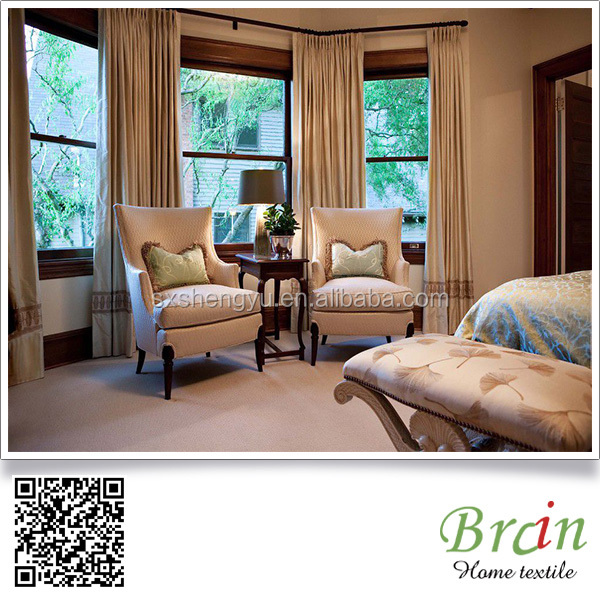 linen blackout ready made window curtain for the living room, pleated frill curtain