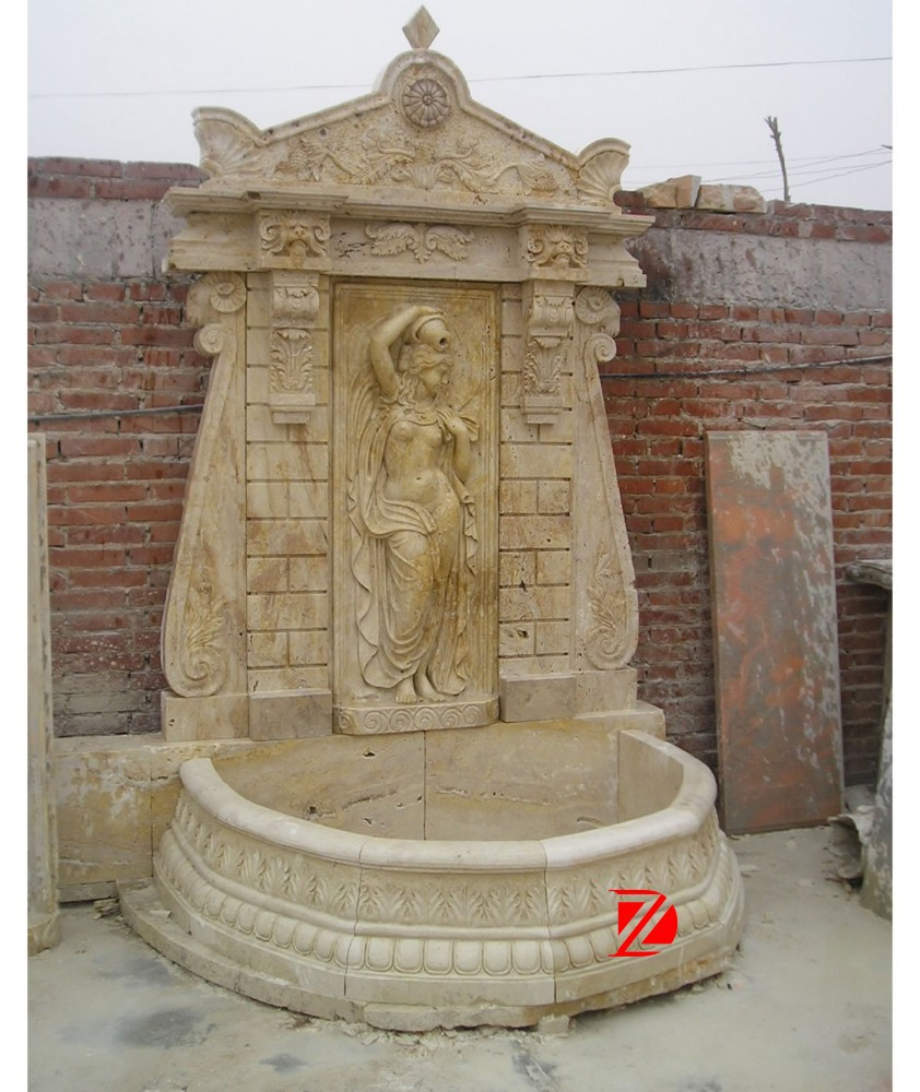 Outdoor wall fountain with lady