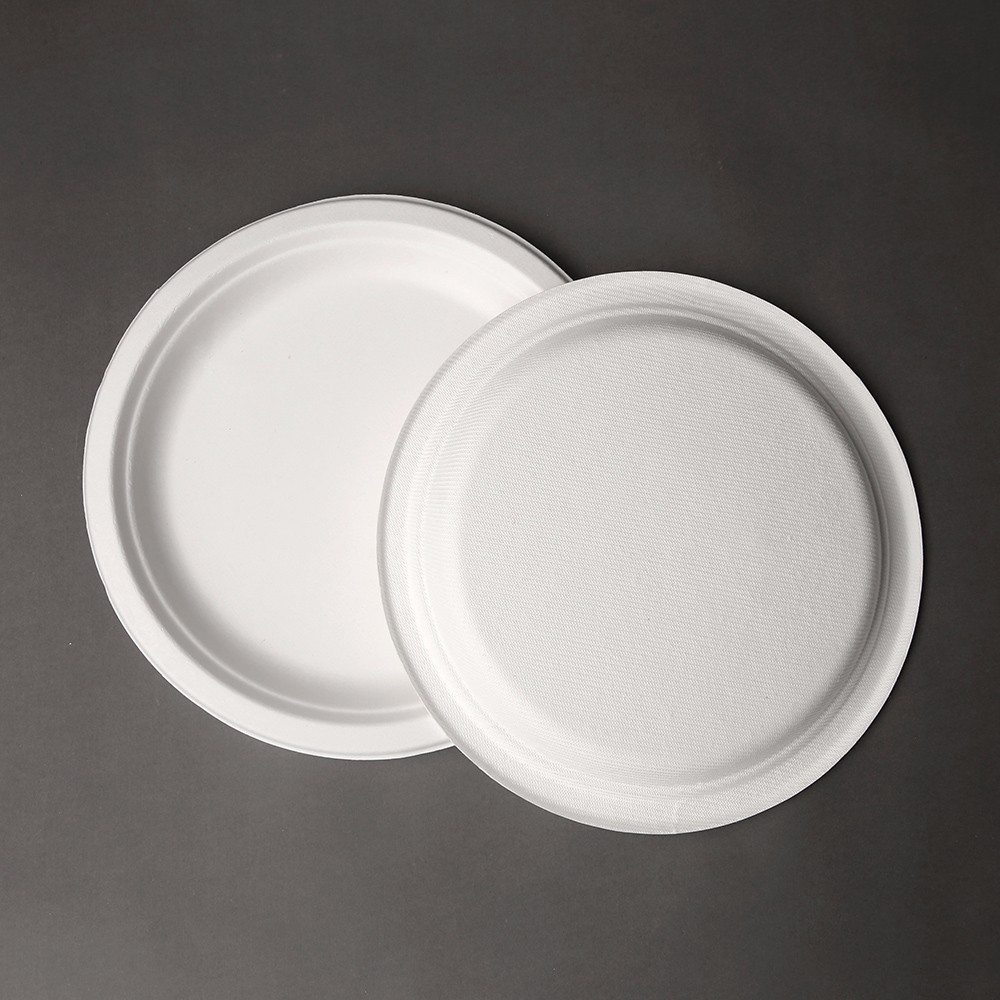 Eco-friendly biodegradable compostable sugarcane bagasse 9 inch <strong>plate</strong> pulp paper <strong>plate</strong>