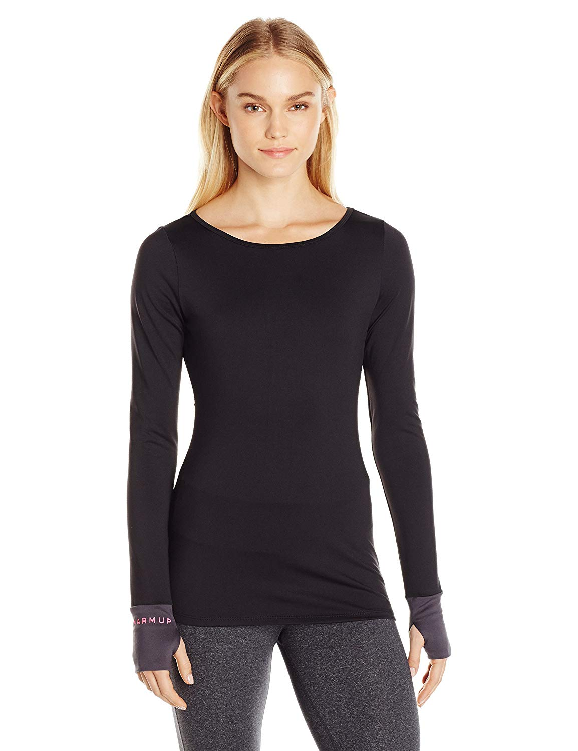 The Warm Up by Jessica Simpson Women's Jet Black Long Sleeve Compression Top with Cut Out Back