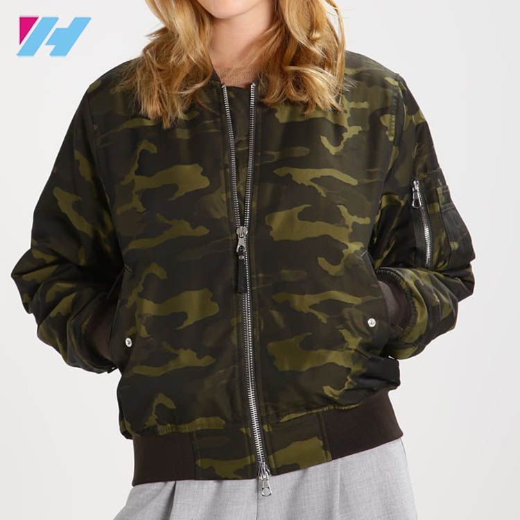 Wholesale Most Popular Camouflage Bomber Cool Green Jacket For Women