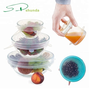 Amazon Hot Products Reusable Durable Expandable Silicon Stretch Wrap Film Food Bows Jar Seal Lid Cover Silicone Stretch Lids