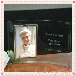 Wedding Favor Engravable Glass Clear Curved Photo Frame