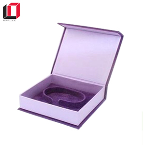 Custom printed recyclable purple diy clamshell unique jewelry packaging box with magnetic closure