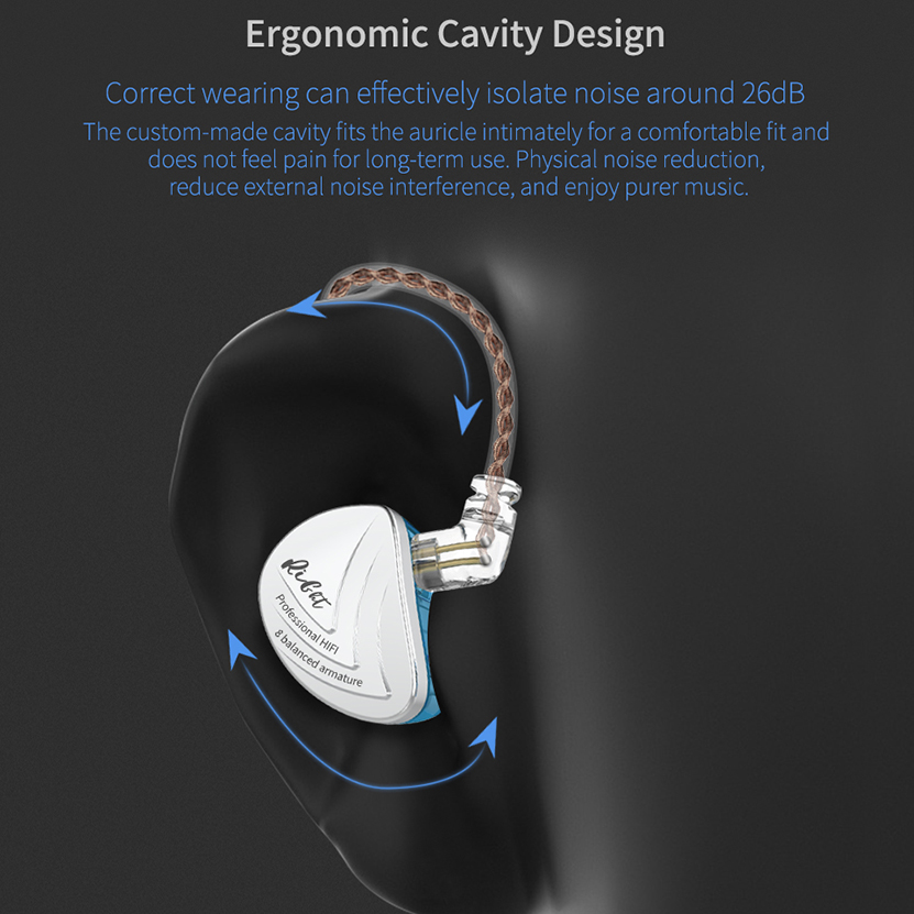 High Quality Noise Cancelling KZ AS16 Earphone Sport Detachable Wired Headphone