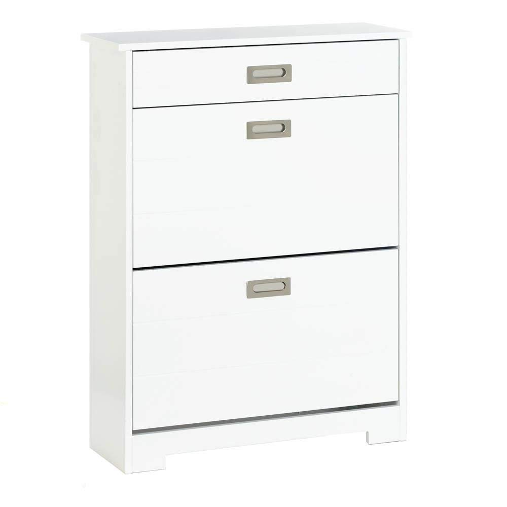 Accent Plus Shoe Rack For Men, Two-tier Storage With Drawer Womens Entryway Shoe Rack, White