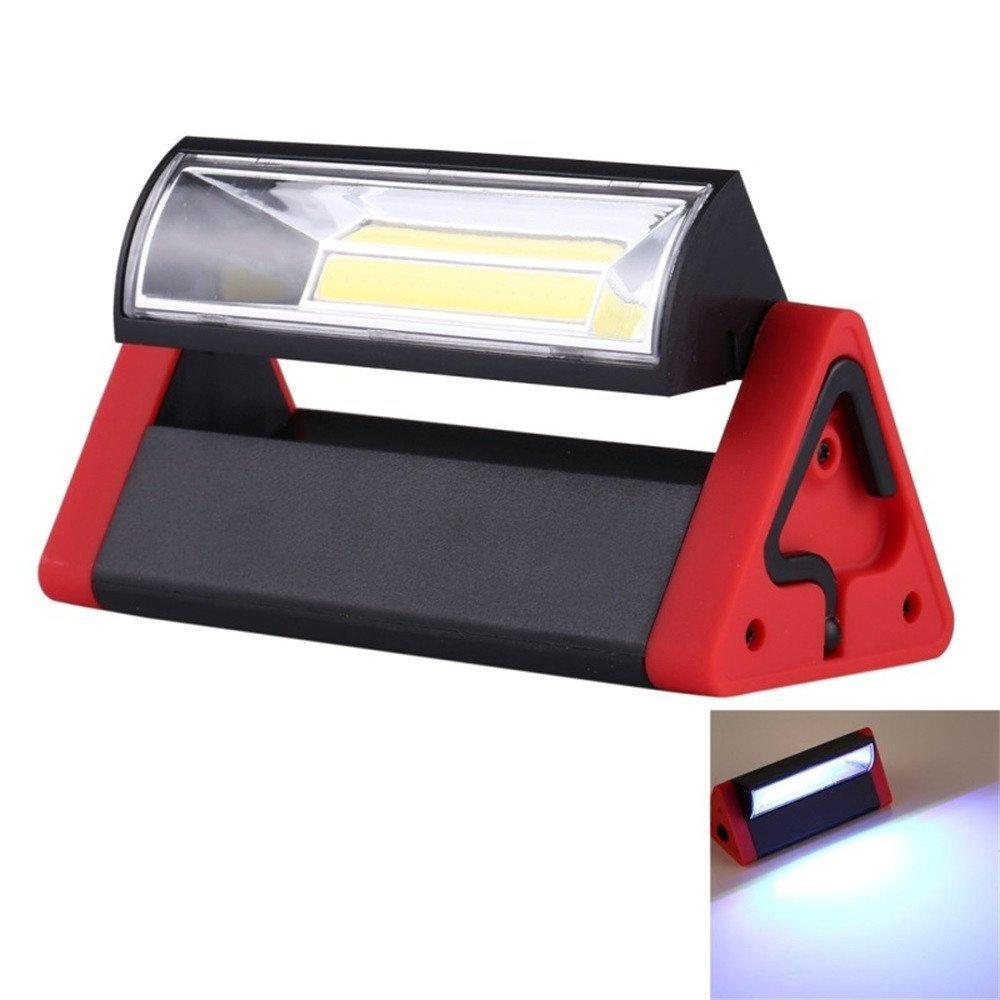 Dressffe Magnetic Cob Work Light, Cob Magnetic Flashlight,Portable COB LED Inspection Light Torch Magnetic Handheld Work Home Garage Car Emergency, 1COB+2LED (Red)