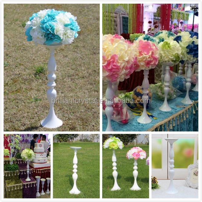 White Metal Candle Holders 50cm/20'' Stand Flowers Vase Candlestick As Road Lead Candelabra Center Pieces Wedding Decoration