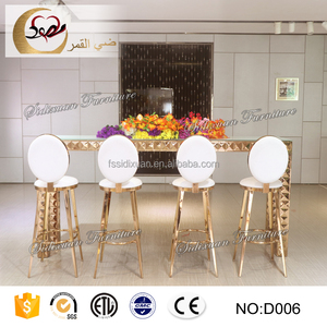 heated rose gold stainless steel metal pub table set