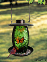 lantern shape metal hanging bird feeder with solar light