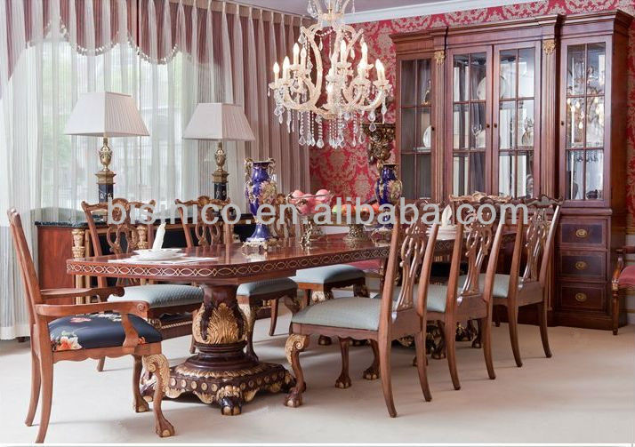 English Royal Style Dining Room Set Antique Furniture Table And Chairs