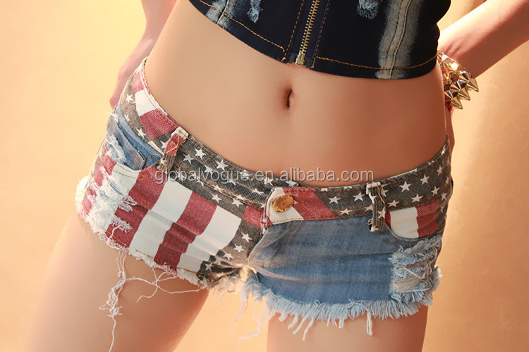 New summer women's low waist denim shorts sexy hole Europe and America