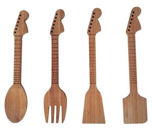 Bamboo Guitar Neck Shaped Kitchen Utensil Set - Musician Gifts - Set of 4: Spoon, Spatulas and Salad Fork