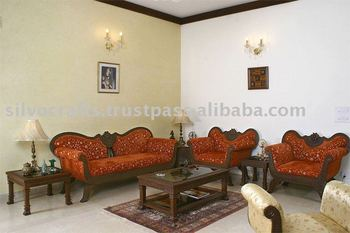 Indian Teak Wood Hand Carved Living Room Furniture With Sofa Set, Coffee  Table, Side Part 61