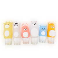 TSA Approved Leakproof FDA Portable Squeezable Refillable Bottle Container Cute Animal Cartoon Style Silicone Travel Bottles Set