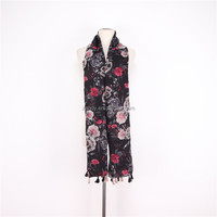 Fashion national style floral printed custom made voile shawl silk scarf for women lady