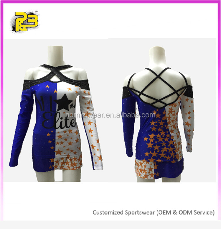2017 manufacturer Normzl sublimated cheerleading uniforms custom high quality Strapless cheer uniform