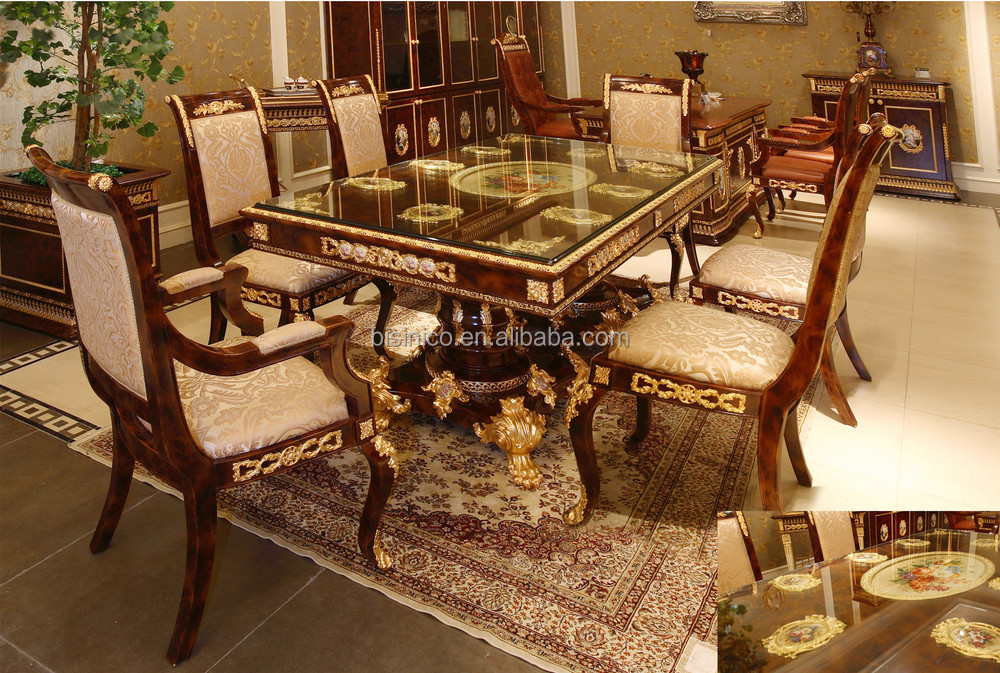 luxe fran ais style baroque de salle manger antique brown retangular table manger avec. Black Bedroom Furniture Sets. Home Design Ideas