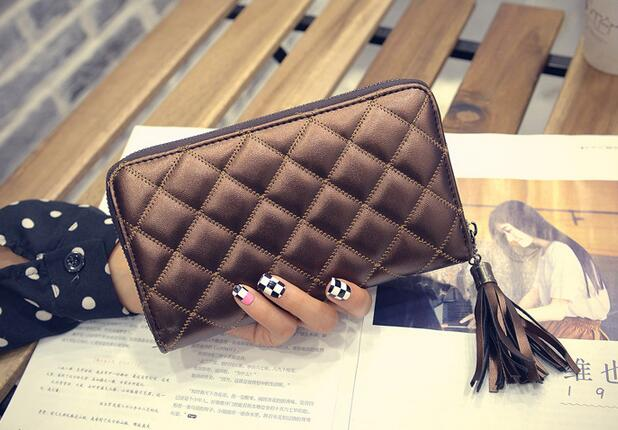 Brown Black Summer New Korean Lady Card Purse Small Fragrance Lingge Zipper Tassel Slim Long Sheepskin Women Leather Bag Wallet