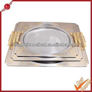 Wholesale 3pcs Stainless Steel Serving Tray/plate Decorative ...