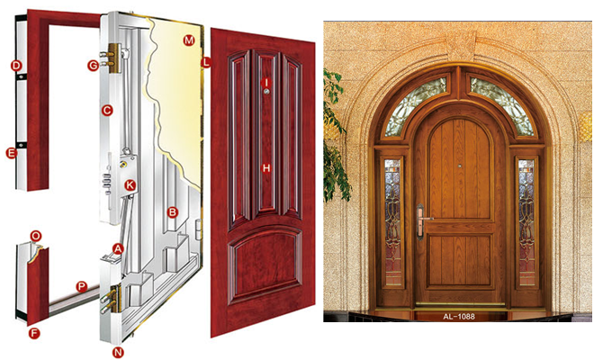 Alibaba top quality wood armored safe room steel security door