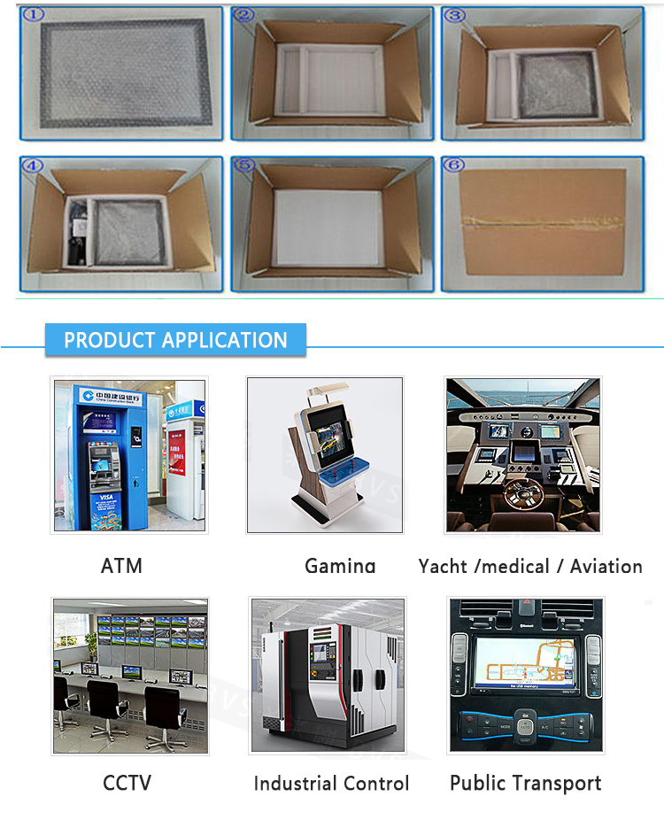 12.1 inch industrial open frame LCD resistive or capacitive touchscreen monitor