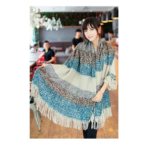 Women winter Warm scarves Fashion colour Long Pashmina Classic Striped Stole Tassels Shawl Wrap mohair Wool Scarf