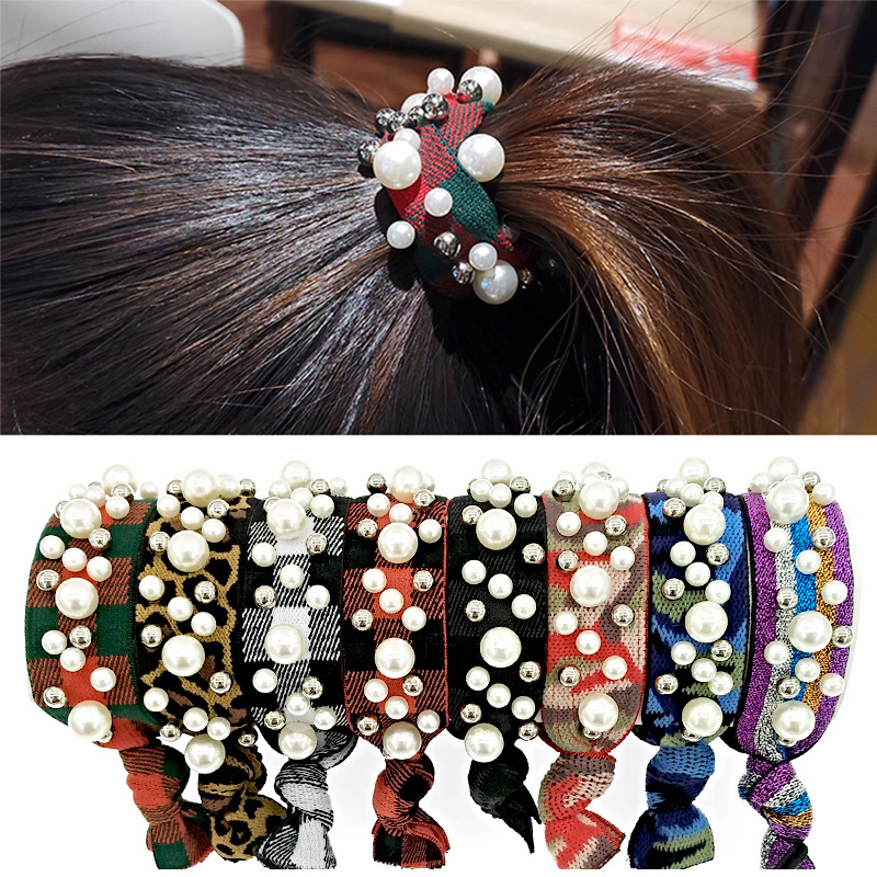 Fashion Elastic Ponytail Cute Rainbow Leopardpearl Rivet Versatile Hair Ring Girls Knotted Pearl Hair Ties
