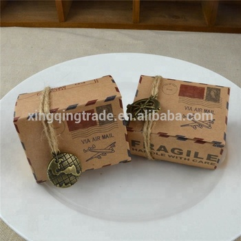 Vintage Favors Kraft Paper Candy Box Travel Theme Airplane Air Mail Gift Packaging Box Wedding Souvenirs