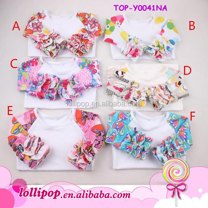 1dba819b1b4 2018 Infant cotton icing ruffles sleeve custom floral o-neck t-shirt 3 4  sleeves white body shirts teen character girl t-shirts