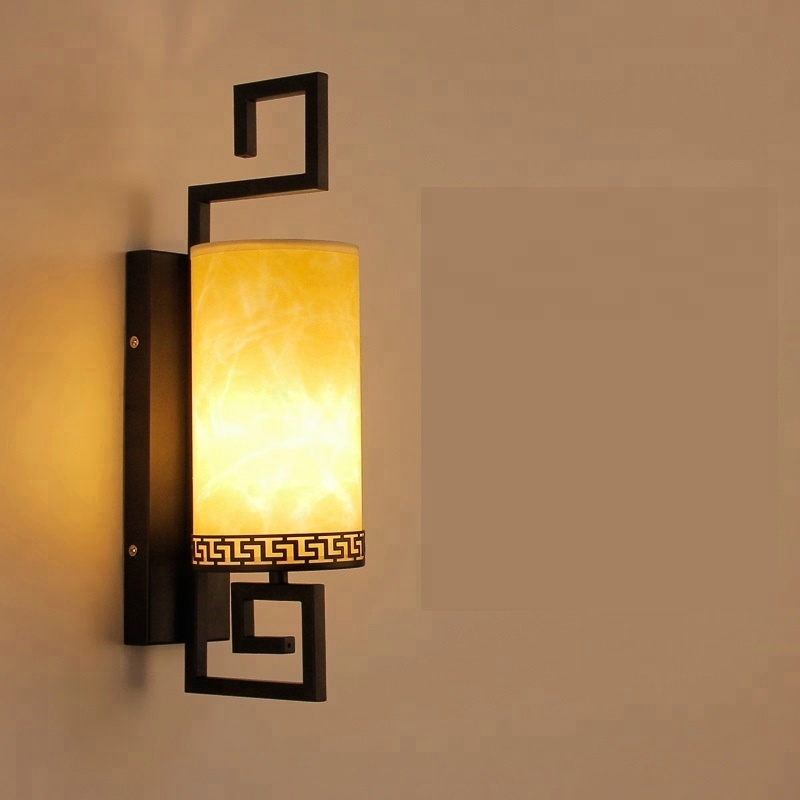Modern new Chinese rectangle simple wood art classical lamps led wall lamp indoor