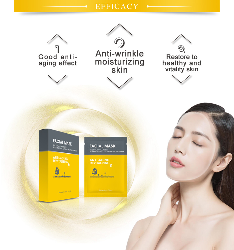 Beauty cosmetic face care sheet mask  anti-aging 24k gold Face Sheet Mask