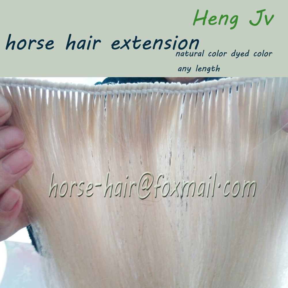 "wefted horse hair extension mane hair fake tail for horse racing 18"" length"