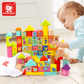 Topbright 80pcs wooden arabic blocks building bricks animal toy for kids 120344