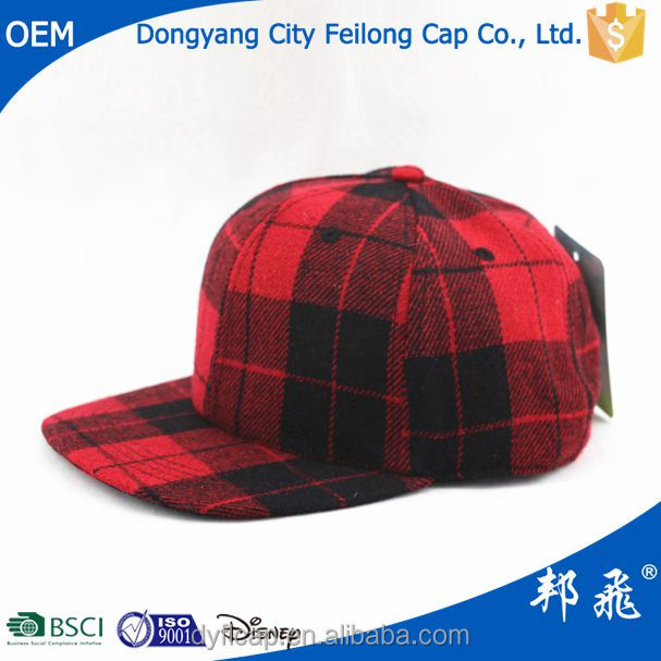 Red England grid 6 panel baseball cap fashion leisure hats