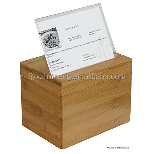 100% natural bamboo Recipe Box with Divider,magnetic locking and Top Lid Stand