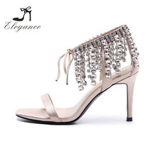 2018 Lady Evening Shoes Twinkling Embellished Nude Satin Diamond Beaded Tassels High Heel Bridal Fancy Sandal Diamante Sandals