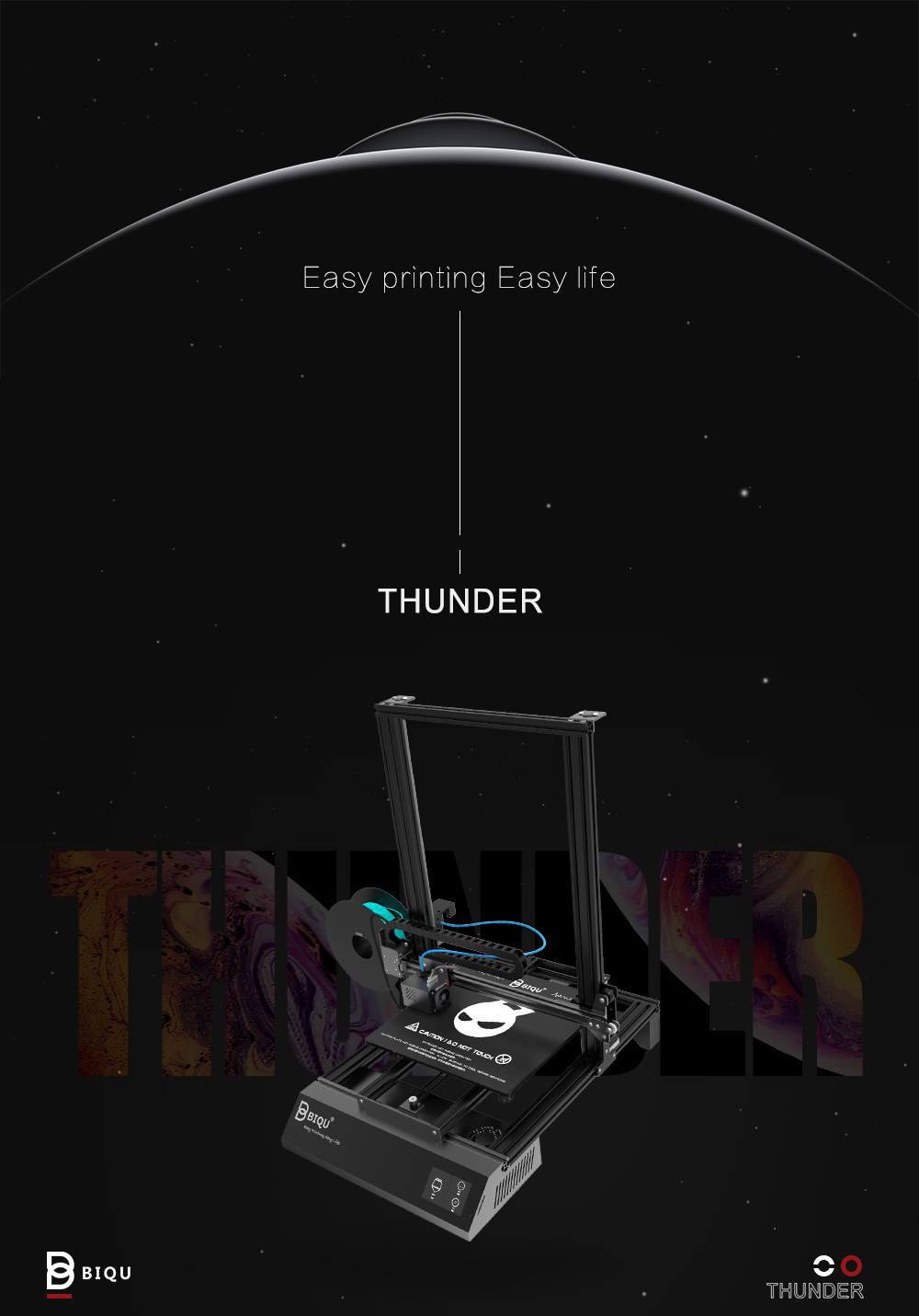 BIQU Thunder large size 3d metal printer Automatically shuts down Smart extruder 3d printer machine