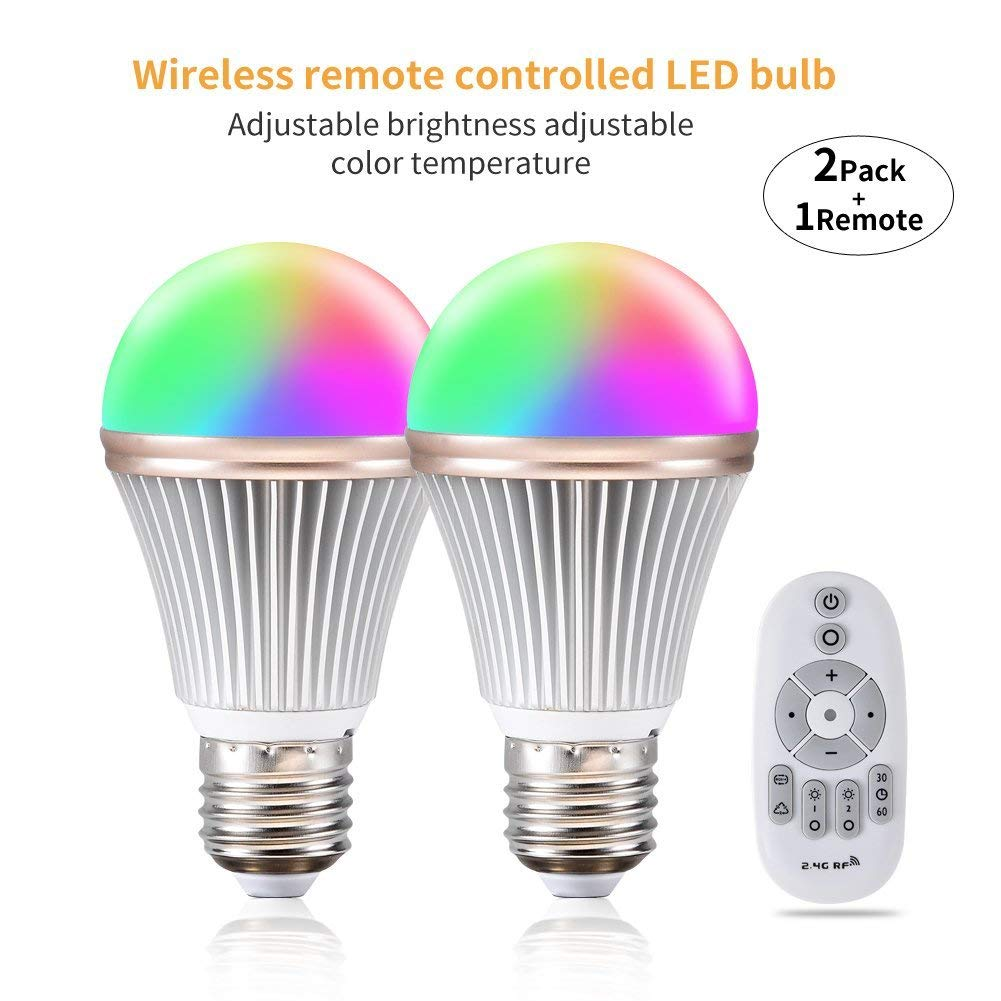 Dimmable Smart LED Light Bulb Color Changing Phwii RGB Multicolor Light Bulb Adjustable Light Bulb Dimmable Lamp 2.4g Wireless Remote Control LED Bulbs 2-Pack 9w E26