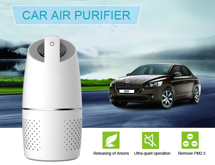 2019 New smart negative ions car air purifier with hepa filter pure