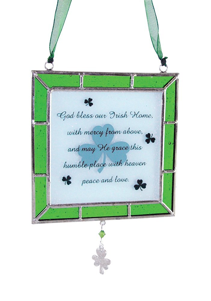 BANBERRY DESIGNS Irish Suncatcher Stained Glass Plaque Ornament with an Irish Blessing
