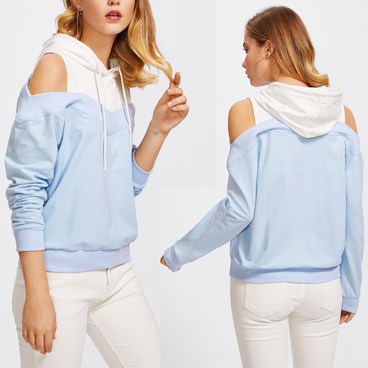 Wholesale manufactory long sleeves baby blue custom off shoulder sweatshirts hoodies for you own design