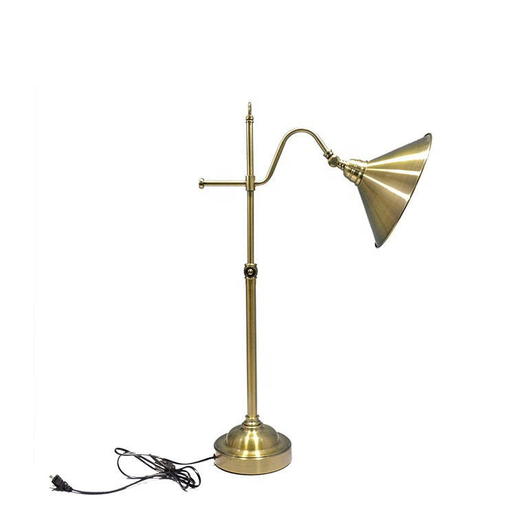 Modern adjustable brass metal table standing lamp
