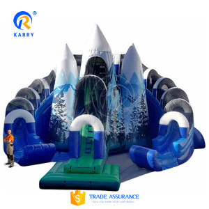 China big everest slide snow mountain snowzilla inflatable slide with water pool